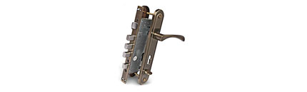 Врезной замок APECS T-0523-C-AB-L тяжелый с ручками цилиндровый с установкой