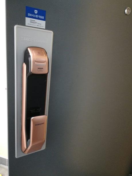 Установленный электрический (электронный) замок Samsung на входную дверь в квартиру
